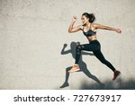 young woman with fit body... | Shutterstock . vector #727673917