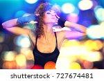 80's fashion woman over bokeh... | Shutterstock . vector #727674481