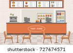 fast food restaurant interior.... | Shutterstock .eps vector #727674571