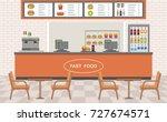 fast food restaurant interior.... | Shutterstock .eps vector #727674571