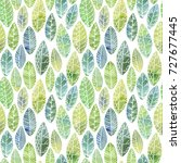 seamless pattern with decorative leaves. hand drawn background