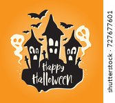 cute halloween illustration... | Shutterstock .eps vector #727677601