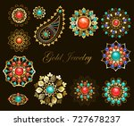 set of jewelry ethnic brooches... | Shutterstock .eps vector #727678237