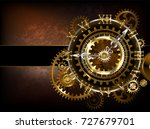 antique  steampunk watches with ... | Shutterstock .eps vector #727679701