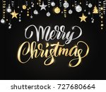 merry christmas card with hand... | Shutterstock .eps vector #727680664