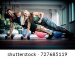 beautiful young sports people... | Shutterstock . vector #727685119