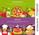 pizza horizontal banners set... | Shutterstock .eps vector #727685539
