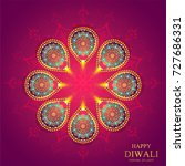 happy diwali festival card with ... | Shutterstock .eps vector #727686331