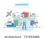 delivery services concept.... | Shutterstock .eps vector #727693684