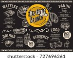 brunch food menu for restaurant ... | Shutterstock .eps vector #727696261