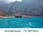 touristic boat trips in the sea ... | Shutterstock . vector #727697641