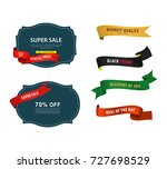 set of sale price banner and... | Shutterstock .eps vector #727698529