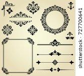 vintage set. floral elements... | Shutterstock .eps vector #727700641