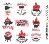 set of vintage steak house... | Shutterstock .eps vector #727706737
