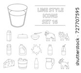 milk set icons in outline style....   Shutterstock . vector #727707595