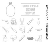 military and army set icons in... | Shutterstock . vector #727707625