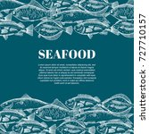 hand drawing vector seafood... | Shutterstock .eps vector #727710157