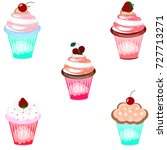 set of ice cream icons on white ... | Shutterstock . vector #727713271