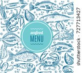 hand drawing vector seafood... | Shutterstock .eps vector #727713427