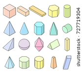 set of 3d geometric shapes.... | Shutterstock . vector #727719304