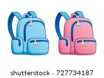blue and pink school bag or... | Shutterstock .eps vector #727734187