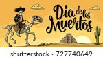 the rider in the mexican man... | Shutterstock .eps vector #727740649