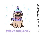 cute dog breed pug in hat and... | Shutterstock .eps vector #727744345