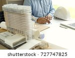 architect or engineer hand on... | Shutterstock . vector #727747825