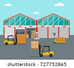 warehouse in flat style.... | Shutterstock .eps vector #727752865