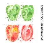 green and red watercolor... | Shutterstock . vector #727762021