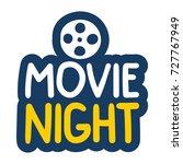 movie night. vector hand drawn... | Shutterstock .eps vector #727767949