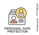 icon personal data protection....   Shutterstock .eps vector #727768234
