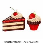 chocolate cake with cupcake | Shutterstock .eps vector #727769821
