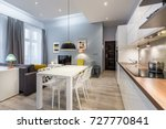 modern studio flat with... | Shutterstock . vector #727770841