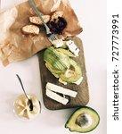 avocado  cheese  hummus and... | Shutterstock . vector #727773991