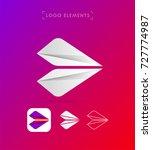 abstract origami arrow logo.... | Shutterstock .eps vector #727774987