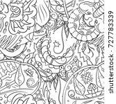 seamless mehndi vector pattern. ...   Shutterstock .eps vector #727783339