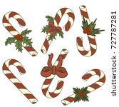 set of candy cane with... | Shutterstock .eps vector #727787281