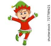 christmas elf cartoon vector... | Shutterstock .eps vector #727789621