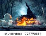 halloween pumpkins on blue... | Shutterstock . vector #727790854
