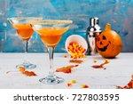 autumn pumpkin margarita... | Shutterstock . vector #727803595