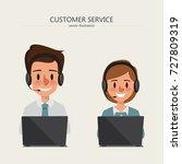 operator of call center office... | Shutterstock .eps vector #727809319
