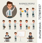 set of businessman character... | Shutterstock .eps vector #727809337