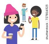 mobile messenger concept....   Shutterstock .eps vector #727816525