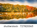 trees in autumn at the lake... | Shutterstock . vector #727820365