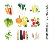 clip art vegetable set with... | Shutterstock .eps vector #727820521