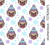 cute seamless pattern with dog... | Shutterstock .eps vector #727820671