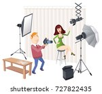 photographer takes pictures of... | Shutterstock .eps vector #727822435