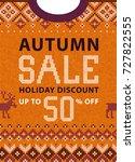 autumn fall season sale...   Shutterstock .eps vector #727822555