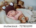 little newborn baby boy ... | Shutterstock . vector #727831099